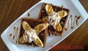 Banana Caramel Walnut Waffle