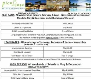 Pico De Loro rates for non members