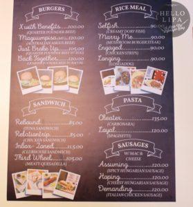 Hugot Cafe Menu