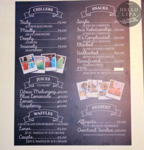 Hugot Cafe Lipa Menu