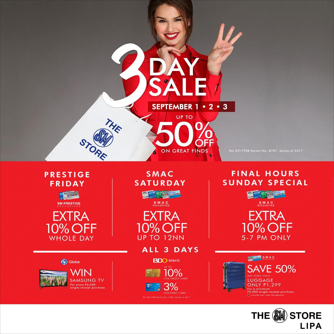 SM City Lipa's 3-day Sale: List of Important Reminders
