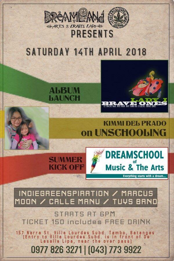 Check Out these Events Happening on April 14, 2018 at Dreamland Arts and Crafts Café Lipa