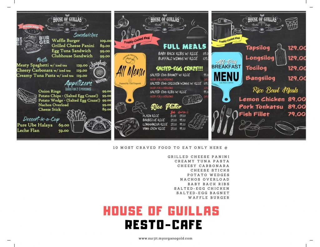 house of guillas menu