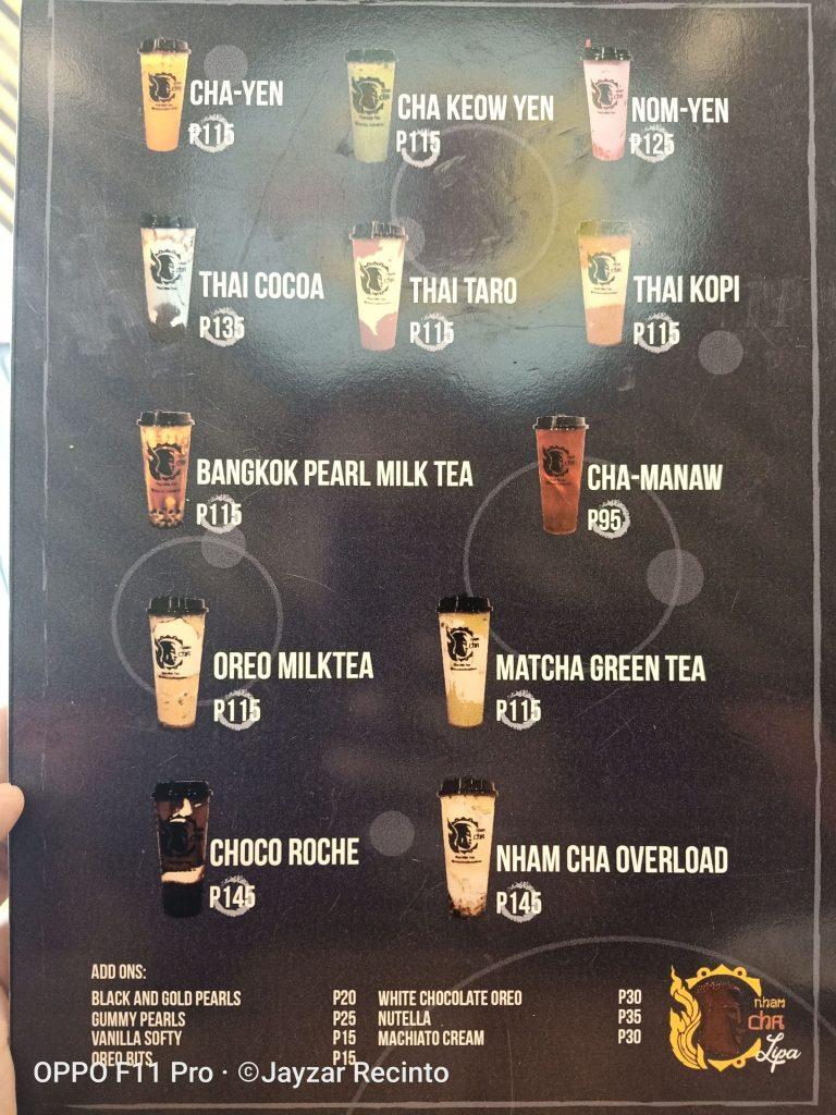 nham cha menu